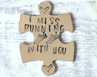 Virtual hug token,I miss running with you, lockdown, Hand Stamped, friends apart, separated couples, running buddies, I miss you,