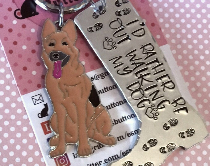 Belgian Malinois dog keyring, Belgian Malinois walker keychain, Belgian Malinois keyring, walking my dog, wellie boot keyring, handstamped,