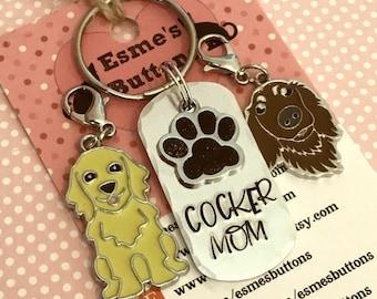Cocker spaniel Dad dog keyring gift, Cocker mom, fathers day gift, Cocker keyring gift, Cocker Key Ring, handstamped  keyring, dog gift,