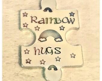 Rainbow hugs token, LGBT token, lockdown, interlocking token, Hand Stamped, Lovers apart, Miss you,