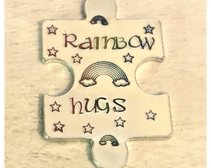 Featured listing image: Rainbow hugs token, LGBT token, lockdown, interlocking token, Hand Stamped, Lovers apart, Miss you,