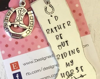Horse Riding gift, Horse riding keychain , Hand Stamped Key ring, Horse Lover, for her,for him, riding my horse,
