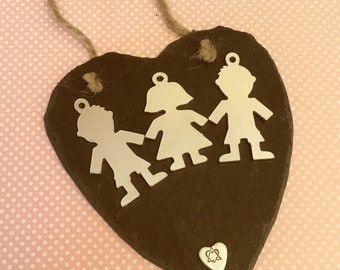 Adoption Slate heart, adopted siblings, adoption gift, wall hanging, wall decor, gift for parents, adoptive parents,