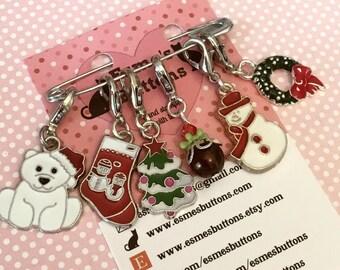 Christmas stitch markers, stitch markers, Christmas gift, for him, for her, for teacher, for friend, crochet, knitting,
