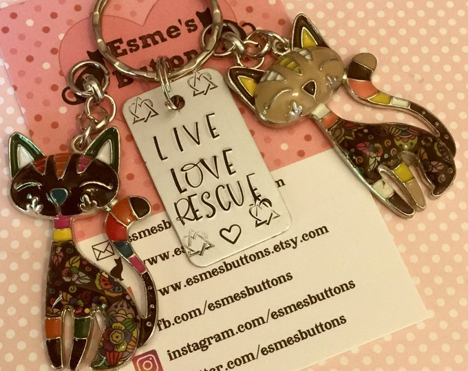 Rescue cat keyring, rescue cat gift, cat gift, Hand Stamped, cat lover gift, gift for him, gift for her,