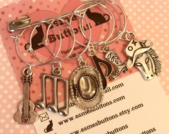 Line dancing wine glass charms, country festival charms, line dance gift, country music gift, country festival wine charms,