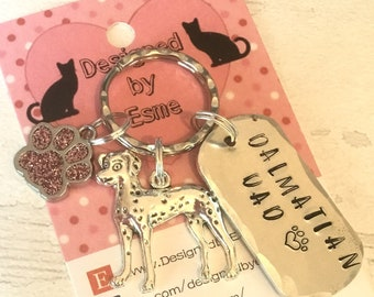 Dalmatian Dad dog keyring, Dalmatian mum, Dalmatian gift, Father's Day gift, mothers day gift, Hand Stamped Key Ring, Dog Owner gift,
