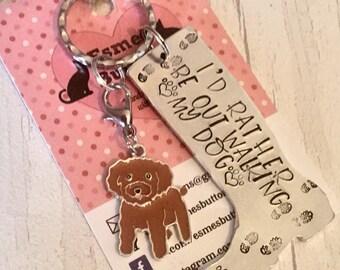 Labradoodle dog keyring gift, doodle dog keyring , walking my dog, labradoodle gift, wellie boot keyring,Hand Stamped Key Ring, Labradoodle
