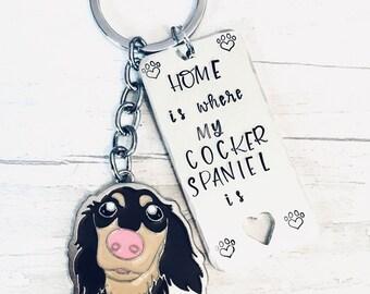 Cocker Spaniel dog keyring, Dog walker keyring, walking my dog, wellie boot, boot keyring, dog owner gift, doggy gift, Hand Stamped Key Ring