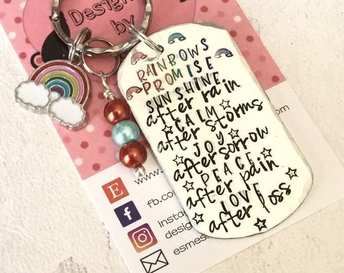 Rainbow promise keyring, hand stamped affirmation gift, gift for her, gift for him, a rainbow promises, uk seller,