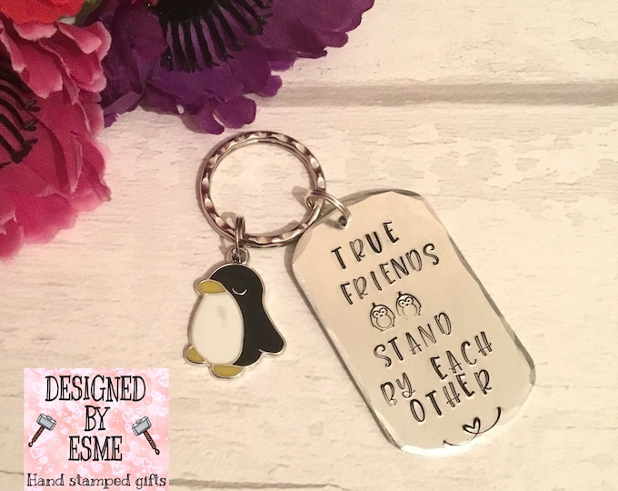 Isolated Friends' gift, penguin gift,True friends' gift, boyfriend gift, girlfriend gift, Best friends gift, hand stamped,for her,forhim