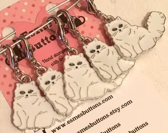 Long haired white Cat stitch markers, cat gift, cat knitters, cat crocheters, stitch markers, gift for a knitter, gift for a crocheter