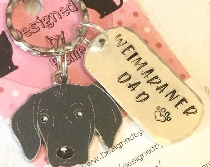 Weimaraner dad dog keyring, Weimaraner gift, Weimaraner Mum, fathers day gift, bag charm, Weimaraner, gift for him, gift for her,