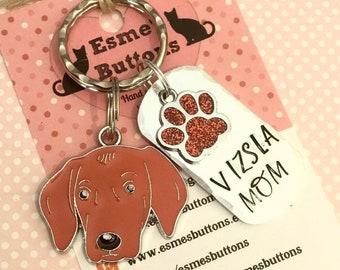 Vizsla dad dog keyring, fathers day, Vizsla gift, Vizsla Mom, hand Stamped Key Ring, bag charm, Vizsla, gift for him, gift for her,