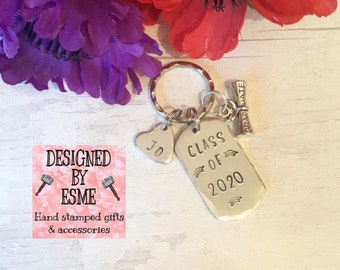 Class of 2020, Graduation keyring, Hand Stamped gift, gift for a graduate,