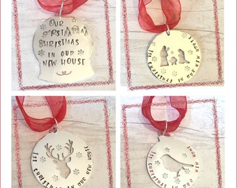 First 1st Christmas in our new house,Christmas ornament,personalised gift, Christmas tree decoration, Christmas home decor, for her, for him