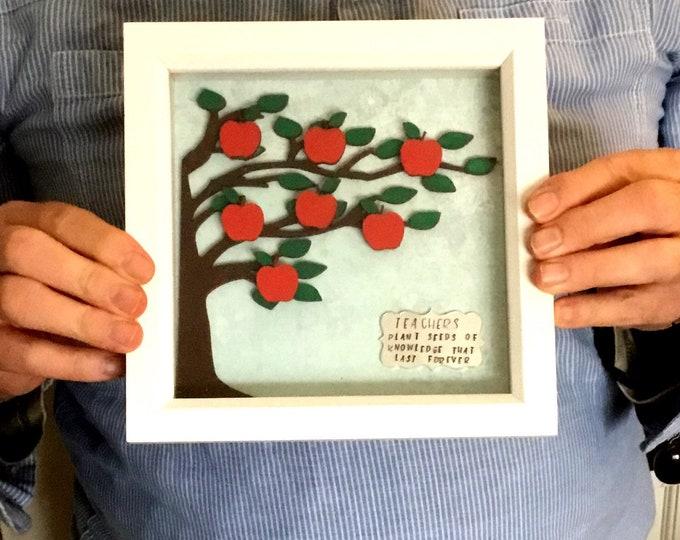 Teacher gift, box frame, teacher frame, Apple tree, teachers plant seeds, home decor, wall decor, Teacher gift,
