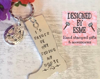 Horse Riding gift, Horse riding keychain , Hand Stamped Key ring, Horse Lover, for her,for him, riding my horse,equine gift,