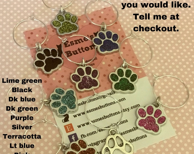 Paw wineglass charms, Cat paws, dog paws, wine glass charms, enamel glass charms, pet lover charms,
