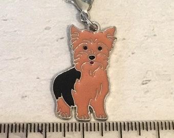 Yorkie charm, add on, zip pull, stitch marker, yorkie gift, dog charms