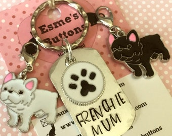 French Bulldog Dad dog keyring gift, frenchie gift, Frenchie mum Key Ring, Fathers Day gift, dog keyring,  dog lover gift, gift for him,