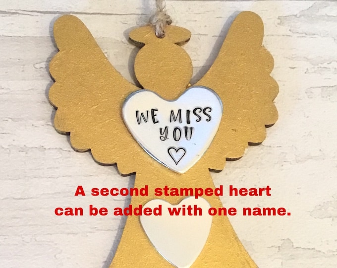 We miss you Rustic wooden Angel, Memorial Angel, Christmas tree ornaments, personalised gift, handstamped Christmas tree decoration,