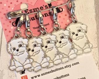 Bichon Frisé dog stitch markers, Bichon Frisé knitters, Bichon Frisé crocheters, stitch markers, gift for a knitter, gift for a crocheter