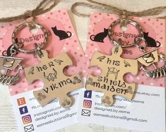 Viking Reenactor Gift, Lockdown, shieldmaiden gift, interlocking, couple gift keyring, Handstamped, Gift for Her, Gift for him,