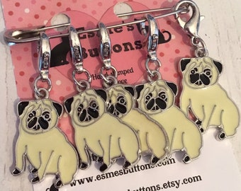 Pug dog stitch markers, pug knitters, pug crocheters, stitch markers, for a knitter, for a crocheter, collie gift,