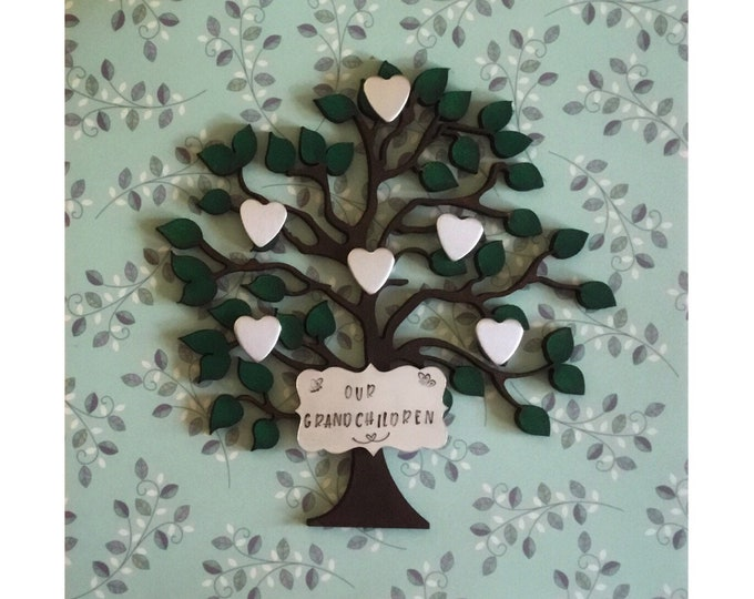 Personalised wooden Family Tree box frame, stamped metal hearts, personalised grandchildren family tree,home decor, wall decor, family gift