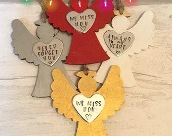 Rustic wooden Angel, Memorial Angel, Christmas tree ornaments, personalised gift, handstamped Christmas tree decoration,