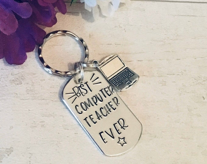 Computing Teacher appreciation keyring, computer teacher gift, computing graduate, computing student, End of year gift, Hand stamped,