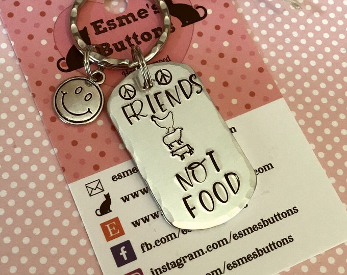 Vegan keyring, Friends not food, cruelty free, animal lover, vegan food lover, vegan food lovers,ethical food, plant based, plant based food