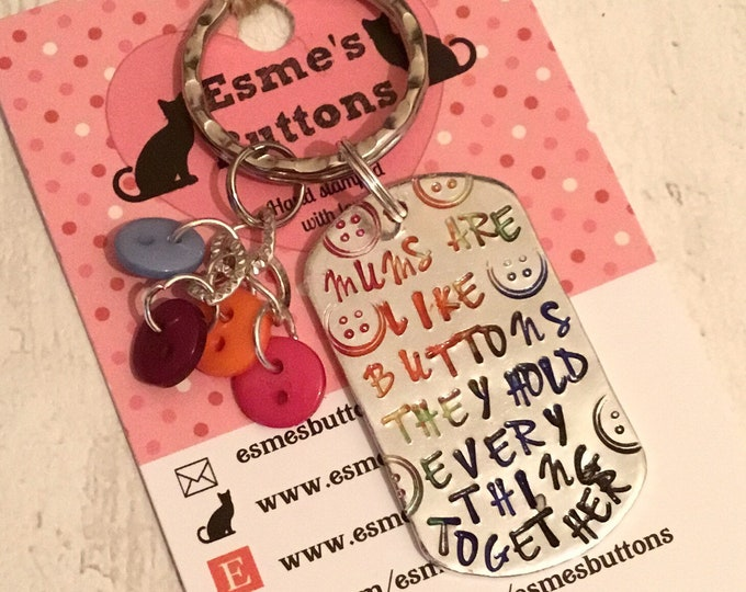 Mums are like buttons, rainbow buttons, Mothers Day gift, motivational gift, gift for Mum, button keyring,mothering Sunday