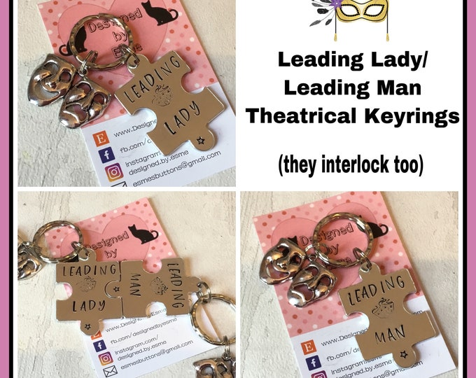Leading Lady Leading Man theatre gifts, Actor gift, Actress gift, Drama gift, Hand Stamped, Key chain, gift for her, gift for him,
