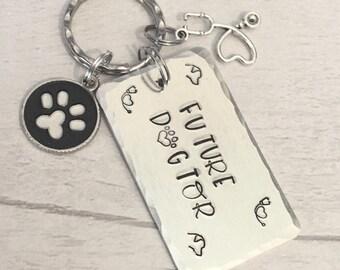 Future dogtor, vet keyring,Vet Student, future doctor, graduate vet gift, veterinarian gift, Hand Stamped, gift for a nurse, gift for her