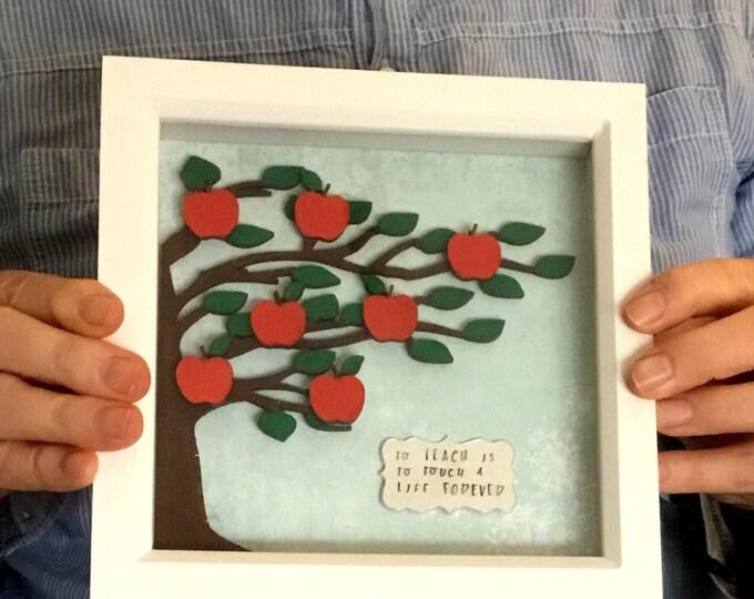 Teacher gift box frame, teacher frame, Apple tree, teachers plant seeds, home decor, wall decor, Teacher gift,
