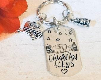 Caravan keys keyring, Adventure gift, camping keyring, camping gift,husband gift, wife gift, boyfriend gift, girlfriend gift, hand stamped,