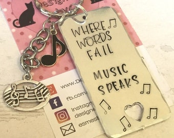 Music Teacher key ring gift, Musician gift, Hand stamped, Key chain, UK seller, key ring, gift for her, gift for him, musician,