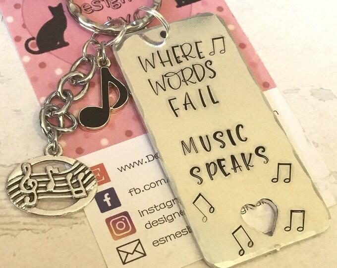 Music Teacher key ring gift, Musician gift, Hand stamped, Key chain, UK seller, key ring, gift for her, gift for him, musician,