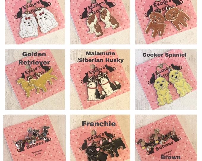 Enamel Dog earrings, niobium earwires, dachshund, malamute, cocker spaniel, sheltie, doodle dog, cocker spaniel, golden retriever, maltese,