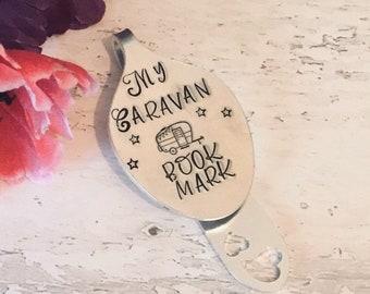 Caravan bookmark, Holiday bookmark, caravan gift, reading gift, Hand Stamped, Spoon Bookmark, bookmark, spoonie bookmark, spoonie gift