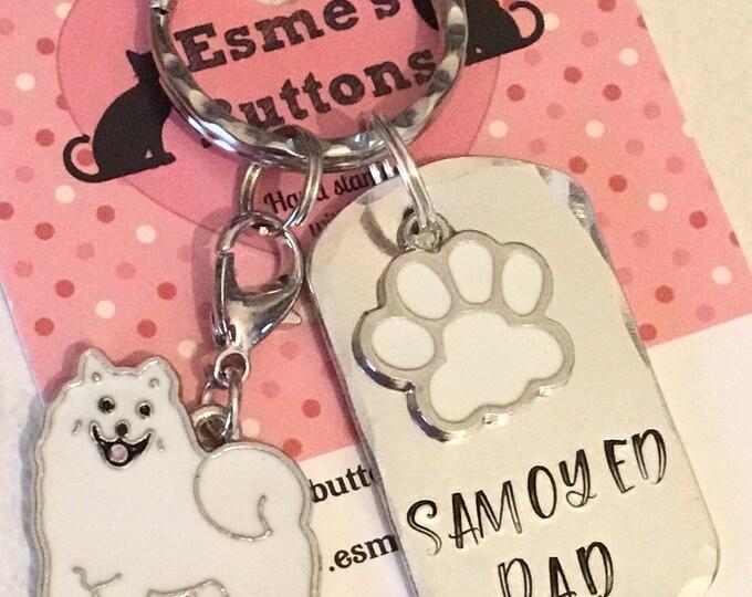 Samoyed Mum dog keyring gift, Fathers day gift, Samoyed keyring gift, Samoyed Key Ring, handstamped  keyring, dog gift, dog lover gift,