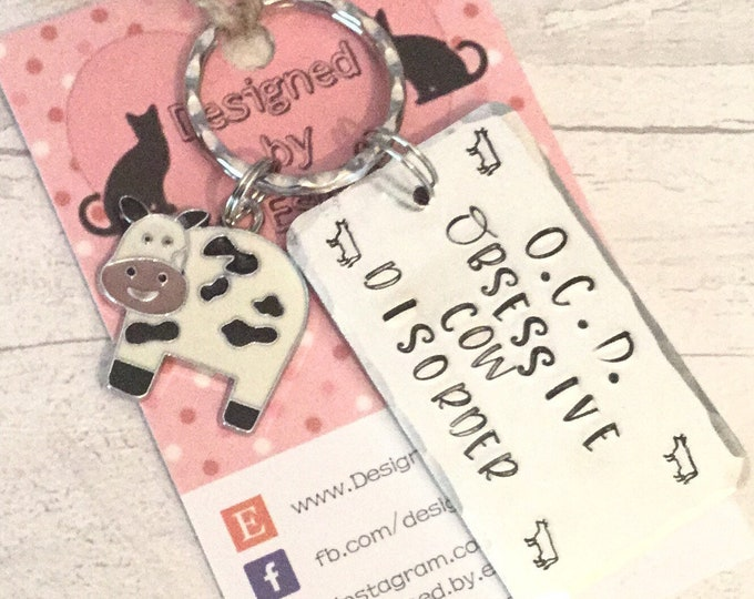 Cow keyring, Farm gift, Cow gift, Hand Stamped, cow Key Chain, Gift for her, Gift for him, cows, farm, on the farm, uk seller, cow lover,