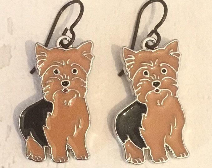 Enamel Yorkshire Terrier earrings with niobium earwires, Yorkie earrings, enamel earrings, niobium earwires, gift for her, Mother's  Day