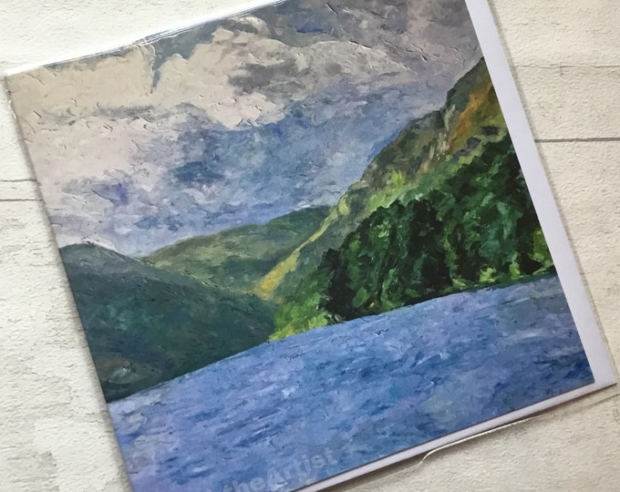 Glendalough, artist card, marktheartist, Lough scene, for her, for him, landscape, Norfolk artist,
