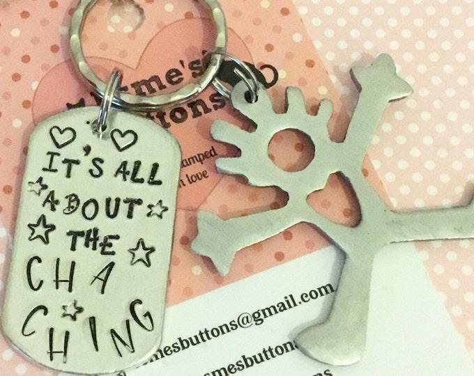 Etsy seller keyring,Cha Ching gift, Etsy success, Etsy seller gift, Hand Stamped, Key chain, gift for her, gift for him, UK seller