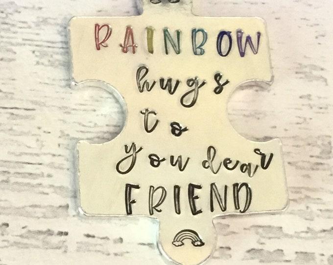 Virtual rainbow hugs token, SOCIALLY DISTANCED HUG, lockdown, interlocking token, Hand Stamped, Lovers apart, Miss you, dear friend,