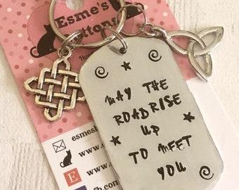 Irish Blessing gift, Celtic keyring gift, Hand Stamped, Key chain, UK seller, gift for her, gift for him,