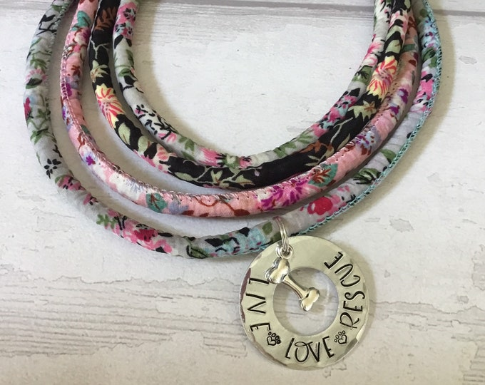 Hand stamped rescue choker, live love rescue, floral cotton cord, gift for her, gift for him,